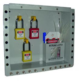 Wall Mounted Group Lockout Box 27h With Padlock And Tags