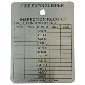 100pcs KRM LOTO – FIRE EXTINGUISHER RECORD TAGS – ALUMINIUM