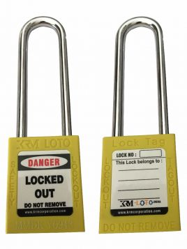 OSHA SAFETY LOCK TAG PADLOCK – METAL – LONG SHACKLE - YELLOW