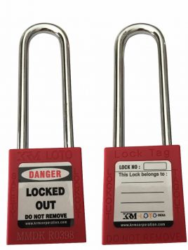 OSHA SAFETY LOCK TAG PADLOCK – METAL – LONG SHACKLE - RED