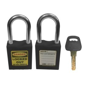 OSHA SAFETY LOCK TAG PADLOCK – METAL SHACKLE-BLACK