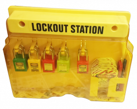 KRM LOTO – OSHA LOCKABLE  LOCKOUT TAGAOUTSTATION WITH MATERIAL-10P