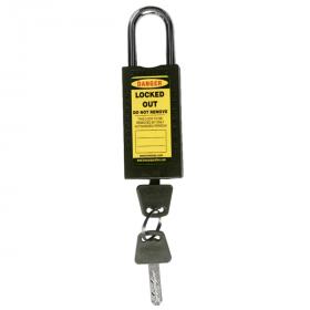 DOUBLE BODY – OSHA SAFETY LOCK TAG PADLOCK – METAL SHACKLE - BLACK