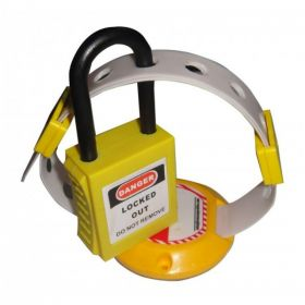 DI ELECTRIC HANDLE PANEL LOCKOUT YELLOW WITH PADLOCK