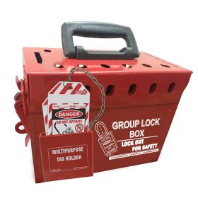 KRM-LOTO PORTABLE GROUP LOCKOUT BOX WITH METAL POCKET  (12 HOLES) RED