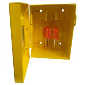 KRM LOTO – LOCKOUT KEY & DOCUMENTATION BOX- clear fascia- yellow -175-1