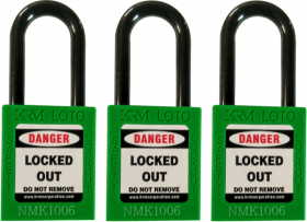 OSHA Safety Isolation Lockout Padlock - Nylon Shackle with Differ Key (Set of 3 pcs)