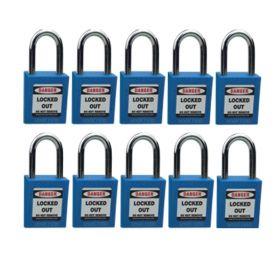 10pcs OSHA Safety Isolation Lockout Padlock - Metal Shackle with Differ Key and Master Key