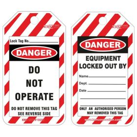 25pcs KRM LOTO DANGER - DO NOT OPERATE - EQUIPMENT LOCKED OUT BY TAG