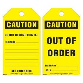 25pcs KRM LOTO CAUTION - OUT OF ORDER TAG