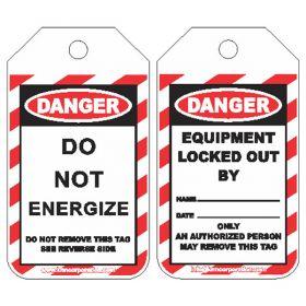 25pcs KRM LOTO DANGER - DO NOT ENERGIZE TAG