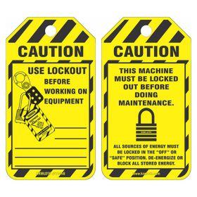 25pcs of Caution - Maintenance Lockout Tags-Yellow