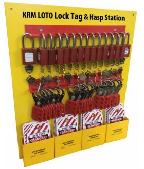 KRM LOTO Lock Tag & Hasp Center/Station with material