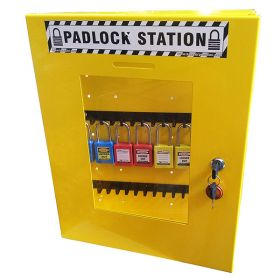 KRM LOTO – LOCKOUT TAGOUT PADLOCK STATION-CLEAR FASCIA-18152 -YELLOW (WITHOUT MATERIAL)