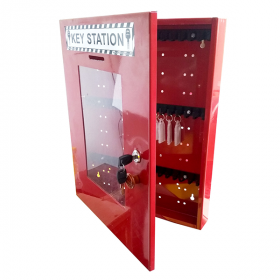 KRM LOTO – LOCKOUT KEY STATION-CLEAR FASCIA-18152 -RED (WITHOUT MATERIAL)