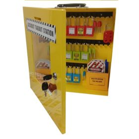 KRM LOTO – OSHA LOCKABLE LOCKOUT TAGOUT STATION WITH MATERIAL