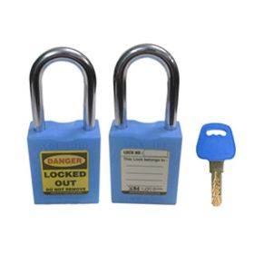 OSHA SAFETY LOCK TAG PADLOCK – METAL SHACKLE-BLUE