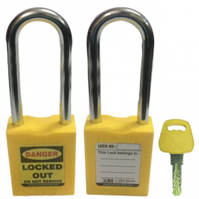 OSHA SAFETY LOCK TAG PADLOCK – METAL – LONG SHACKLE -YELLOW