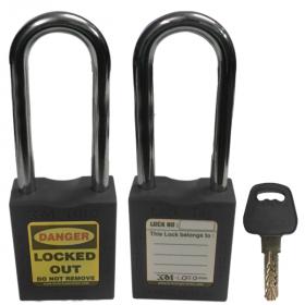 OSHA SAFETY LOCK TAG PADLOCK – METAL – LONG SHACKLE - BLACK