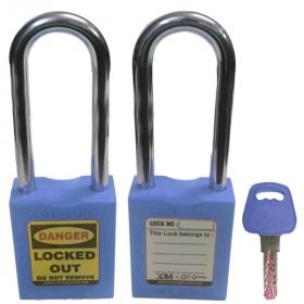 OSHA SAFETY LOCK TAG PADLOCK – METAL – LONG SHACKLE - BLUE