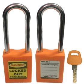 OSHA SAFETY LOCK TAG PADLOCK – METAL – LONG SHACKLE - ORANGE