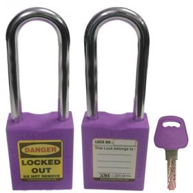 OSHA SAFETY LOCK TAG PADLOCK – METAL – LONG SHACKLE -PURPLE