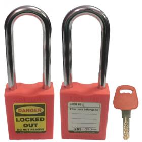 OSHA SAFETY LOCK TAG PADLOCK – METAL – LONG SHACKLE - RED