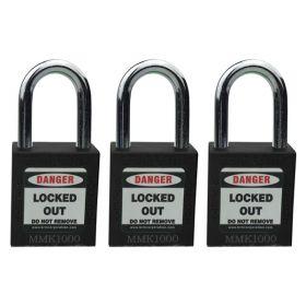 3pcs OSHA Safety Isolation Lockout Padlock - Metal Shackle with Alike Key