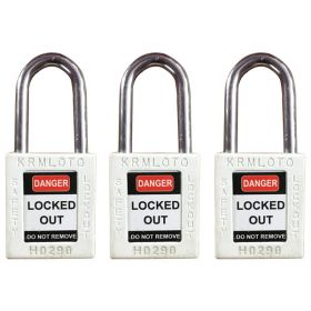 3pcs OSHA Safety Lock Tag Padlock - Metal Shackle with Alike Key