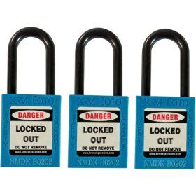 3pcs OSHA Safety Lock Tag Padlock - Nylon Shackle with Alike Key