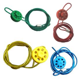 4pcs Round Multipurpose Cable Lockout 8 Holes (with 2mtr. cable & With Loop in 4 colors)