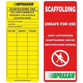 25pcs-UNSAFE FOR USE - CUSTOMIZED SCAFFOLD TAG - KRM LOTO