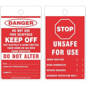 25pcs - KRM LOTO - STOP UNSAFE FOR USE - SCAFFOLD TAG - RED