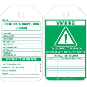25pcs - WARNING ERECTION & INSPECTION RECORD - SCAFFOLD TAG KRM LOTO