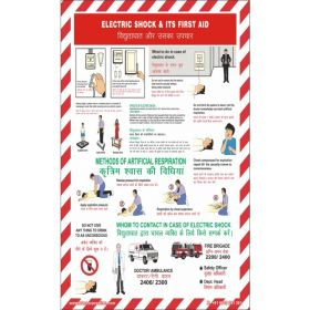 "KRM LOTO - ELECTRIC SHOCK & ITS FIRST AID SAFETY POSTER (ACP SHEET)  24"" X 36"" (set of 5pcs)"