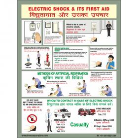 "5pcs KRM LOTO - ELECTRIC SHOCKS & ITS FIRST AID(ACP SHEET) 24"" X 36"""