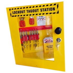 KRM LOTO – OSHA LOCKOUT TAGOUT CABINET STATION - WITH MATERIAL