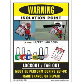 50pcs KRM LOTO LOCKOUT TAGOUT SAFETY LABELS (55 mm X 75 mm)