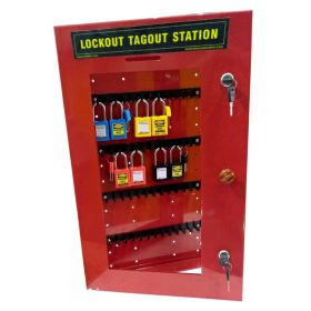 KRM LOTO – LOCKABLE LOCKOUT TAGOUT PADLOCK STATION-Red-24152  (WITHOUT MATERIAL)