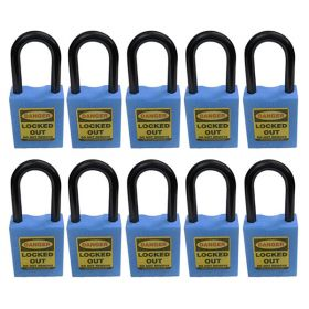 10pcs OSHA Safety Isolation Lockout Padlock - Nylon Shackle with Differ Key and Master Key