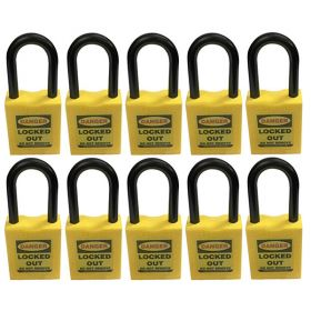 10pcs OSHA Safety Lock Tag Padlock - Nylon Shackle with Differ Key and Master Key