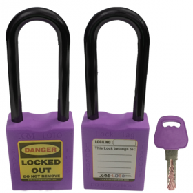 OSHA SAFETY LOCK TAG PADLOCK – NYLON – LONG SHACKLE - PURPLE