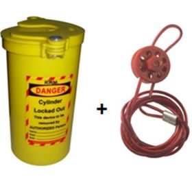 Valve Cylinder Lockout with Round Multipurpose Cable Lockout with 2 mtr cable