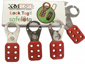 Vinyl Molded coated Hasp - Small - Jaw dia - 25 mm - RED